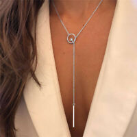 Fashion Women Silver Long Chain Lariat Drop Charm Bar Necklace Jewelry Pendant