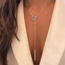 Fashion Women Silver Long Chain Lariat Drop Charm Bar Necklace Jewelry Pendant