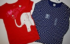 NWT EUC OLD NAVY RED ELEPHANT BLUE HEART VALENTINES DAY SHIRTS 2 PC SET SIZE 5T