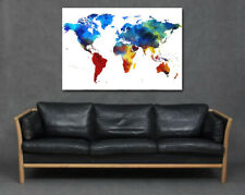 World Map Bright Colourful Painting Print Art Canvas Earth Office Living Room