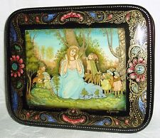 "Russian Lacquer box Palekh "" Snow White & Seven Dwarfs "" miniature Hand Painted"