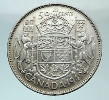 1949 CANADA UK King GEORGE VI Coat-of-Arms Large SILVER 50 Cents Coin i80763