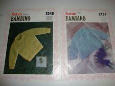 Two Vintage Robin Knitting Patterns for Baby Matinee Jacket, Jumper,