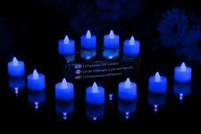 Gift 12 Blue Flameless Battery Candles Tea Lights Safe Flickering LED Holiday