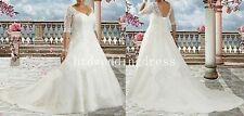 Custom Plus-size Lace Half Sleeve Bridal Gown Wedding Dress 16-18-20-22-24-26++