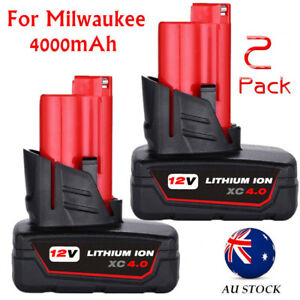 2 PACK 12 Volt For Milwaukee 48-11-2460 M12 XC 4.0Ah Lithium Ion Battery AU Ship
