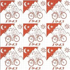 Red 9 Panel Bicycle Day Dr.Hofmann perforated sheet BLOTTER ART psychedelic art