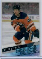 2020-21 UD Series 1 Clear Cut Young Guns #218 TYLER BENSON EDMONTON OILERS