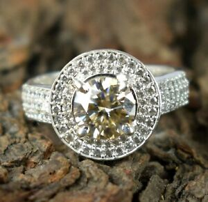3.66 Ct Champagne Diamond Solitaire Men's Engagement Ring With Accents