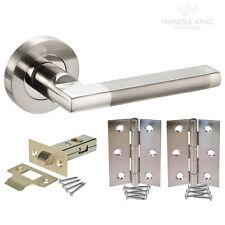 Modern Interior Door Handle Pack Duo Polished / Satin Chrome Latch Door Handles