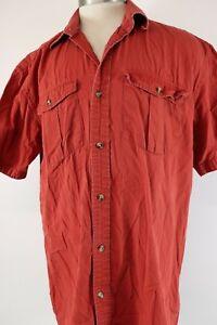 Magellan Sportswear Fishing Shirt Mens Sz L Rust Red Short Sleeve Ripstop Cotton