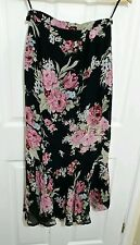 LAURA ASHLEY 100% Silk Size 8 Black Pink Floral A Line Full Length Maxi Skirt