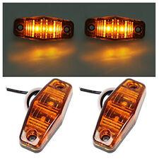 2 pcs AMBER Side Marker Indicators Lights For Truck Trailer 12V LED Waterproof