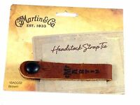 Martin Acoustic Guitar Strap Button Tie Leather Brown