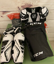 Ccm Youth Ice Hockey Protective Gear Lot Shin Elbow Shoulder Pads Pants Jr Small
