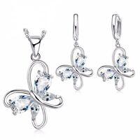 Mariposa Set Collar Colgante Pendiente Cadena de Cuerda Cadena de Plata
