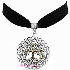 Women's fashion jewelry Velvet strip silver Necklace Pendant(celtic Tree of life
