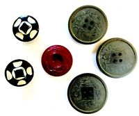 EMBOSSED BUTTONS Lot of 6 Vintage Variety