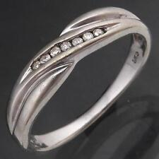 Simply Styled Solid 9k WHITE GOLD 7 DIAMOND CROSSOVER CHANNEL ETERNITY RING Sz M
