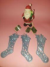 New Listing2010 Cvs Christmas Santa Trinket Box & 3 Glittery Ice Blue Stocking Ornaments