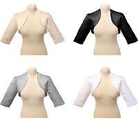 Satin Jacket Bolero Shrug Cardigan Short Sleeve Wedding Bridal Bridesmaid  8-20