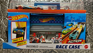 Hot Wheels Race Case Track Set Children Xmas Gift 2 Racing Cars Toys For Boys