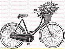 Shabby Vintage Farrad Fahrradkorb Antik Blumen Rose  Bügelbild 261