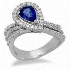 Solid 14K White Gold Natural Blue Sapphire Diamond Engagement Ring Free Shipping
