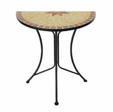Mosaik Beistelltisch 70x60cm - Metall Dekotisch Gartentisch Balkontisch halbrund