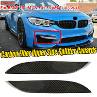 REAL Carbon Fiber Front Bumper Side Splitter Canards Lip For BMW F80 M3 F82 M4