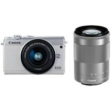 CANON EOS M100 Mirrorless Camera Double Zoom Lens Kit White Japan Version New