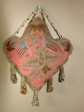 Vintage Beadwork Pillow , with Eagle and Flags