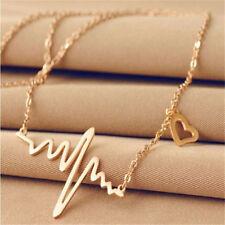 Fashion Womens Gold Heart Beat Pendant Necklace Stainless Steel with Chain Made
