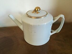 Antique Chinese Export Porcelain Tea Pot White Gold Gilt American Market 19th c.