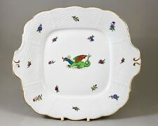 VINTAGE HEREND PORCELAIN CHINESE GREEN DRAGON HANDLED CAKE BREAD BUTTER & PLATE