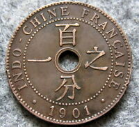 FRENCH INDOCHINA 1901 1 CENTIME, BRONZE