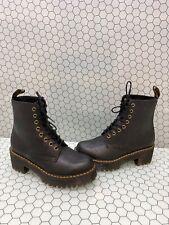 Dr. Martens SHRIVER HI Black Leather 8-Eye Lace Up Platform Boots Women's Size 8
