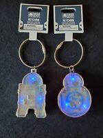 Galaxy's Edge Disney Parks Droid Depot Star Wars R2D2 BB8 Lights Up Keychain NWT