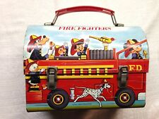 Genuine Vintage Walt Disney Fire Fighter Micky Mouse Tin Lunch Box Excellent