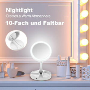 Kosmetikspiegel LED Beleuchtet 10fach Vergrößerung Schmink Spiegel Rasur Faltbar