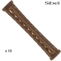 Sibel 10 x 10mm BROWN Hair Setting Curl Rollers & Roller Pins Skelox Hair Curler