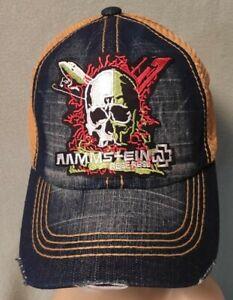 Rammstein Distressed Hat Denium Stone Wash & Wheat Mesh Adjustable RAMMSTEIN Hat