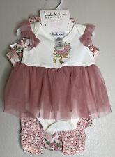NWT Nicole Miller Baby Infant 4 Piece Tutu Set Bib Headband 3/6 Months