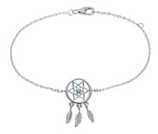 Anklet Catch Dream Stone Turquoise Solid Silver 925/1000 Rhodium