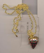 KENNETH LANE RED ENAMEL DOTTED  STRAWBERRY  NECKLACE