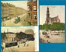 3 Tram Postcards ~ Amsterdam 700 Jaar Years : Reproductions of 1900 Views - 1975