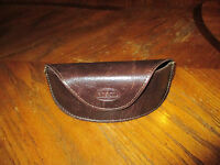 NEW FOSSIL Brown Leather TRIANGLE Sunglasses Eye Glasses CASE Sun Glass Magnetic