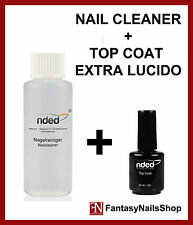 TOP COAT EXTRA LUCIDO SIGILLANTE + NAIL CLEANER SGRASSANTE UNGHIE GEL UV NDED