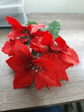 "(1) Stem RED Xmas Poinsettia 5 Artificial Silk Flowers on one stem, 12"" Bouquet"