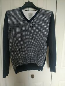 Men's Navy And White V Neck Check Jumper From Next Size M